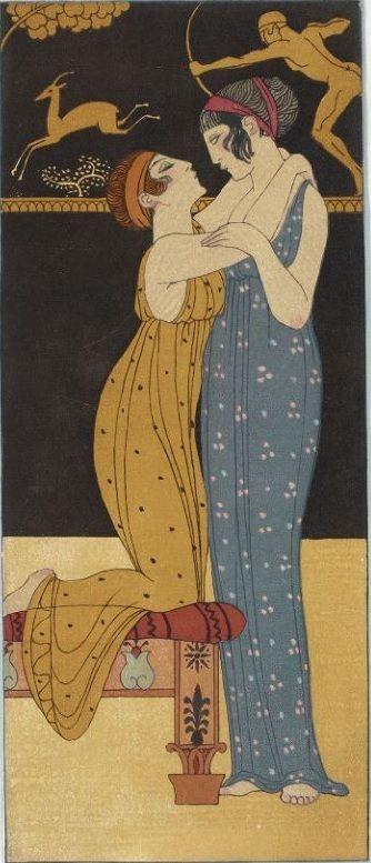 George Barbier 1882 1932 Les Chansons De Bilitis Edition Pierre Corrad 1922 Pinned 5 Xii 2019 Lesbian Art Japanese Art Art