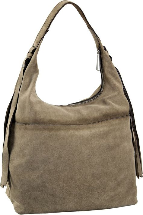 Marc O´Polo Hobo Bag L Burnished Cow Suede Taupe - Beuteltasche