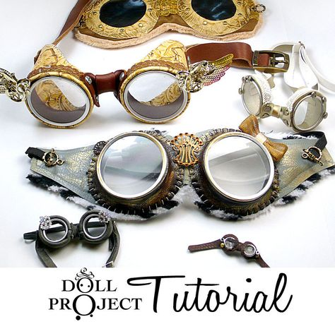 DIY Goggle PDF Tutorial Patterns Aviator Costume Goggles How to make goggle sets for dolls or people costumes. via Etsy.