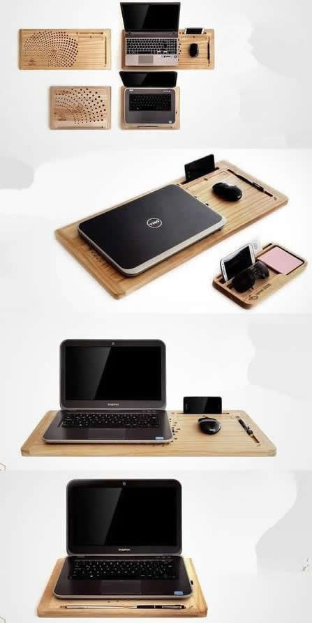 56533f8a83d3 Bamboo Wooden Laptop Apple MacBook Mobile Lap Desk Cooling Stand ...