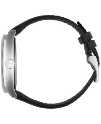6bfcece6444 Gucci Men s GG2570 Swiss Black Leather Strap Watch 41mm YA142307 - Black