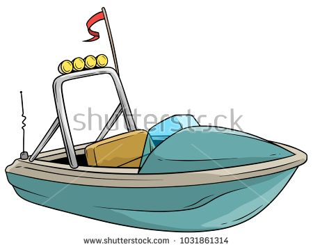 Cartoon Small Blue Motor Boat With Red Flag And Radio Antenne