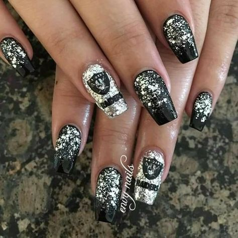 black and white glitter gel nail art christmas design winter nails