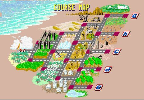 Map Out A Run Outrun (Arcade) — course map. One of my all time favorite arcade