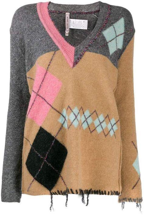 Antonio Marras distressed argyle sweater