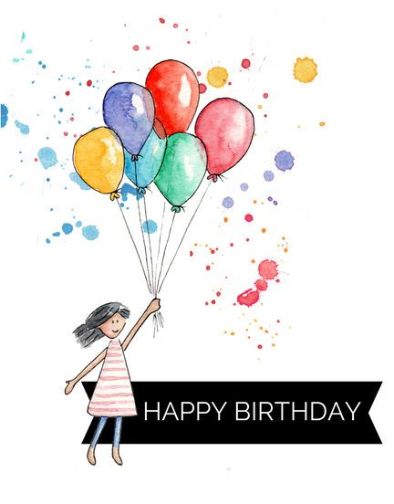 Printable Happy Birthday Card Watercolour Girl With Balloons
