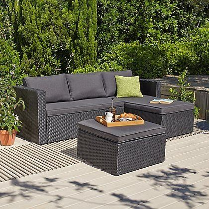 Garden Furniture Outdoor Garden George At Asda 1000 In 2020 Rattan Garden Furniture Garden Furniture Black Rattan Garden Furniture