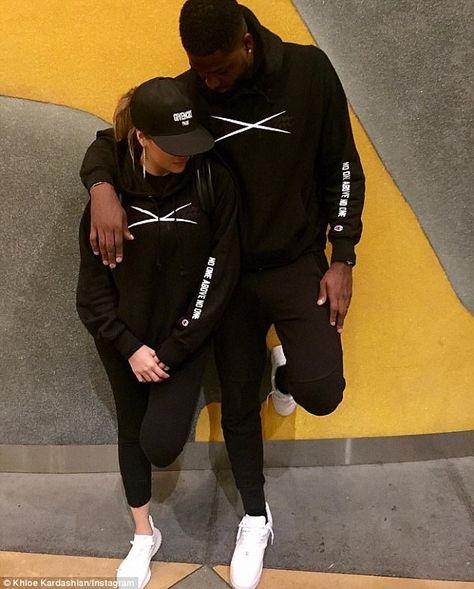 Khloe Kardashian and Tristan Thompson match in hoodies
