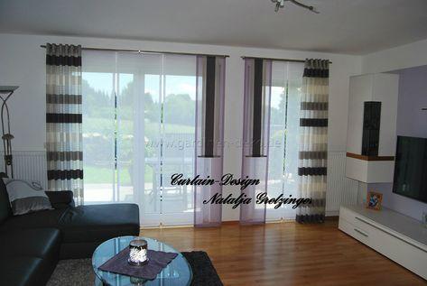 Lila Schiebevorhang fürs Wohnzimmer mit grauen Seitenschals - http - schone schlafzimmergardinen wohlfuhlfaktor