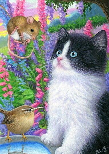 Tuxedo kitten cat mouse wren bird garden flowers OE ACEO print of painting