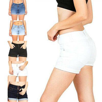 Womens Vintage Denim High Waist Floral Capri Shorts Ladies Ripped Cropped Jeans
