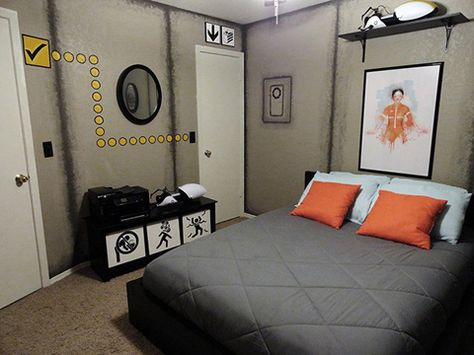Portal Themed Bedroom Filled With Posters Signs Bedroom Setup