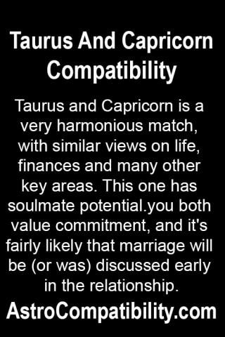 Taurus and Capricorn is a very.... | AstroCompatibility.com