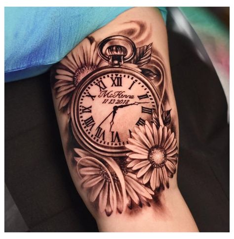 Mommy Tattoos, Baby Tattoos, Time Tattoos, Tattoos For Kids, Tattoos For Daughters, Tattoos About Kids, Tatoos, Pocket Watch Tattoo Design, Pocket Watch Tattoos