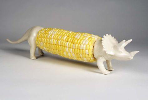 Haha!! Triceratops Corn Cob Holder