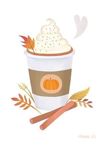 Pumpking Spice Latte Illustration von Noël ILL von Little Paper Farm www. Autumn Illustration, Cute Illustration, Fall Drawings, Fall Background, Fall Wallpaper, Christmas Drawing, Latte Art, Fall Nail Designs, Autumn Cozy