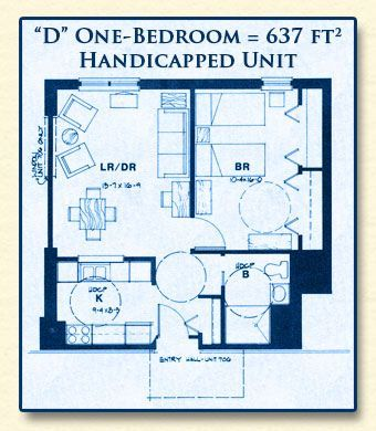 Unit D Has One Bedroom With 637 Square Feet Apartmentfloorplans Unit D Has One Bedroom Wheelchair House Plans Modular Home Floor Plans Accessible House Plans