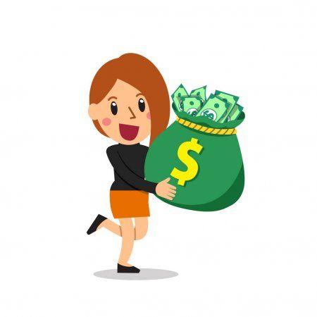 Empresaria De Dibujos Animados Vector Bolsa De Dinero Para El Diseno Bolsas De Dinero Dibujos Animados Disenos De Unas