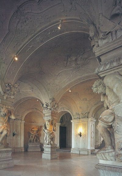The Interior of Upper Belvedere palace, Vienna, Austria (Schloss Belvedere) built Hall of Giants - used at caryatids in place of column supports Beautiful Architecture, Beautiful Buildings, Art And Architecture, Beautiful Places, Modern Buildings, Le Palais, Vienna Austria, Palaces, Scenery