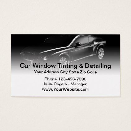 Cool Automotive Window Tinting Detailing Business Card Zazzle