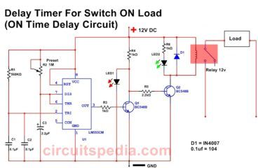 Switch On Delay Timer For Switch On Any Appliance After Some Delay Duration For Protection Circuit Diagram Timer Circuit