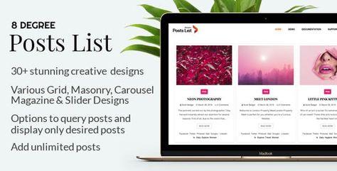 Eight Degree Posts List Pro – Easy-To-Use Posts Listing Plugin For WordPress | Codelib App