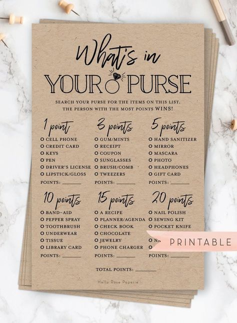 What S In Your Purse Game Printable Bridal Shower Game Rustic