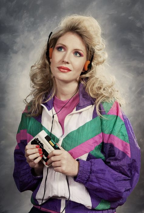 Hilarious track suit, walkman, colored eyeshadow and hot-rollered hair