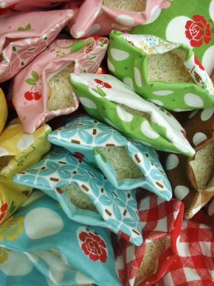 Rice bag heating pads is what the craft project instructions are for, but these can also be used to play a game, like bean bag in the basket.  I've made them and played with my son and his Grandma; it was a blast, easy to play and easy to make.
