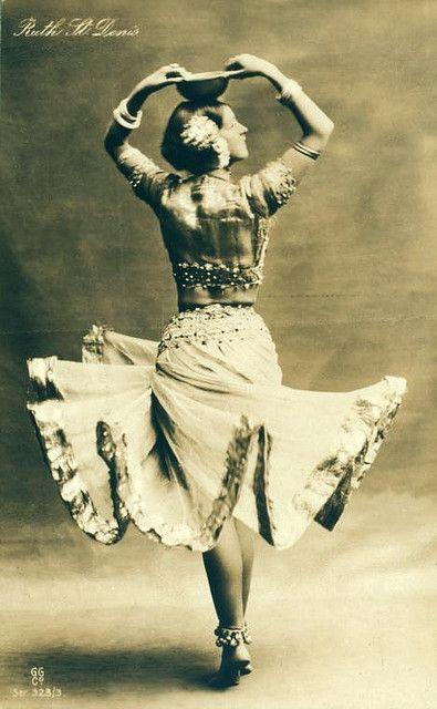 """Ruth St. Denis in her solo dance """"Radha"""", 1906.  modern dance pioneer, introducing eastern ideas into the art. co-founder of the American Denishawn School of Dance and the teacher of several notable performers."""