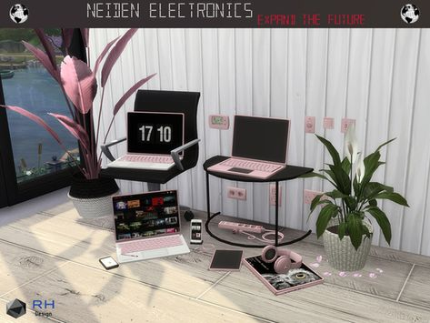 sims 4 cc // custom content decor clutter furniture // the sims resource // RightHearted's NEIDEN Electronics (laptops, cell phones, computers, tablets, televisions, tv, surge protector, etc)