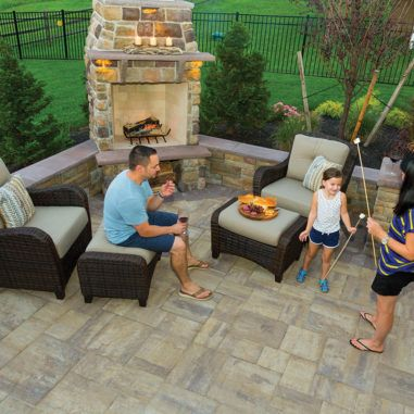 Paver And Wall Design Ideas Outdoor Fireplace Designs Small Outdoor Patios Backyard Fireplace