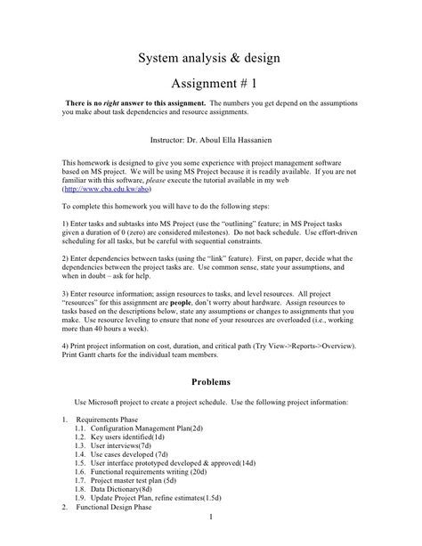 System Analysis Design Assignment 1 There Is No Right Answer To This Assignment Career Management Assignments Analysis