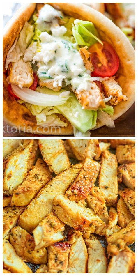 If you haven't tried a homemade Chicken Gyro yet, you are missing out! Fresh vegetables, tender chicken, tzatziki sauce, and feta cheese make an unforgettable combination! You'll love it from the first bite. FOLLOW Cooktoria for more deliciousness! #chicken #gyro #sandwich #lunch #dinner #greek #healthyrecipe #recipeoftheday