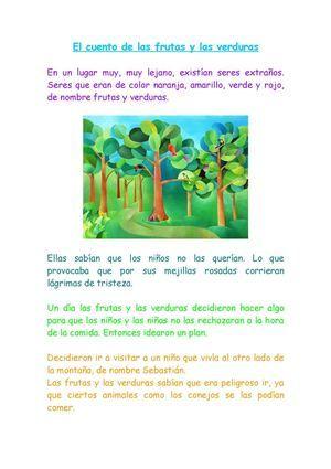 Cuento De Las Frutas Y Las Verduras Verduras Para Niños Frutas Y Verduras Frutas