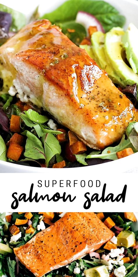 This salmon salad is loaded with roasted sweet potato croutons, avocado, pickled onions and dressed in a light lemon vinaigrette! It's an easy go-to meal you'll love having as part of your weekly rotation.  #salmonsalad #healthysalad #salad #avocado