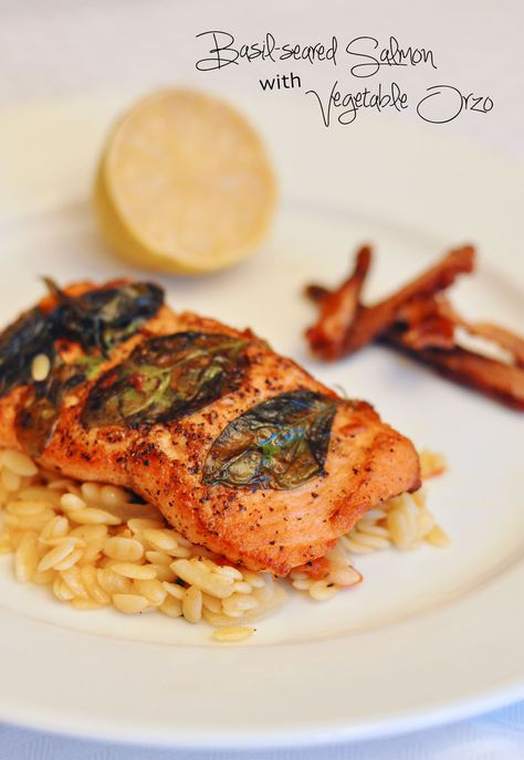 camo meets couture: Basil-Seared Salmon with Vegetable Orzo