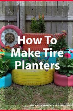 25 Inspiring Tire Planter Ideas to Add to Your Outdoor Living Space Tire Planters, Modern Planters, Indoor Planters, Flower Planters, Garden Planters, Cheap Planters, Cute Garden Ideas, Garden Yard Ideas, Garden Crafts