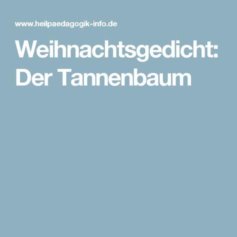 Weihnachtsgedicht Tannenbaum.Pinterest