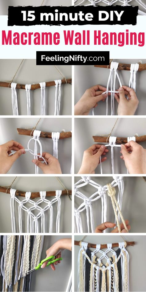 Learn how to make a DIY macrame wall hanging for beginners. Learn the square and larks head knots in this easy step by s Macrame Design, Macrame Art, Macrame Projects, Macrame Knots, How To Macrame, Driftwood Macrame, Micro Macrame, Macrame Wall Hanging Patterns, Yarn Wall Hanging