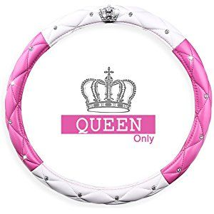 Fangfei Queen Car Steering Wheel Cover for Girls /& Women natural Latex Non-toxic and odorless Safe Driving Black Cute and Pink