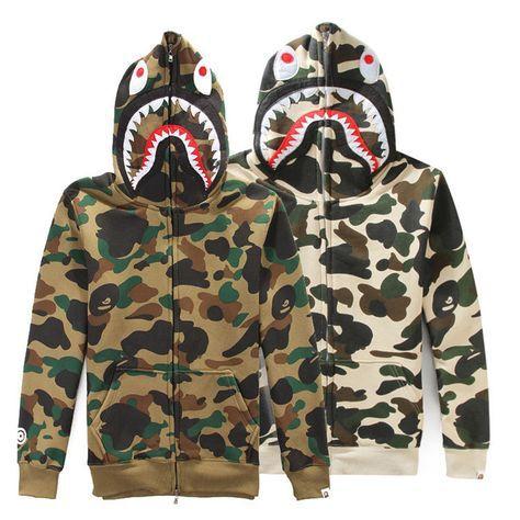Bape A Bathing Ape Shark Head Blue Camo Hoodie Jacket  Coat Flannel Sweatshirt