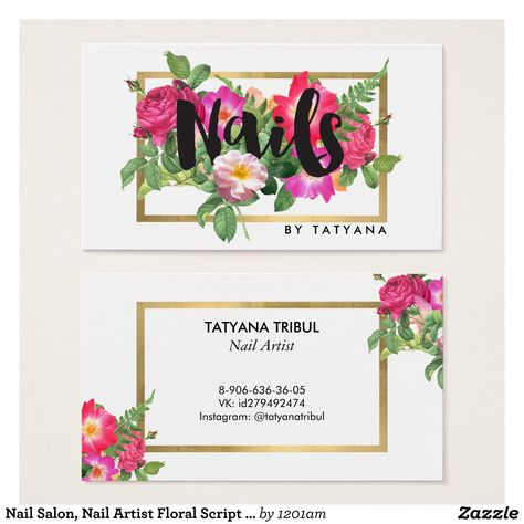 Nail Salon Artist Floral Script Text White Business Card