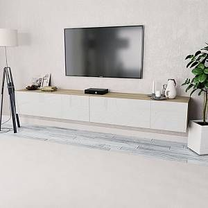 Vidaxl Meuble Tv 2 Pcs Agglomere 120x40x34 Cm Chene Et Blanc Brillant En 2020 Meuble Blanc Et Bois Mobilier De Salon Meuble Suspendu