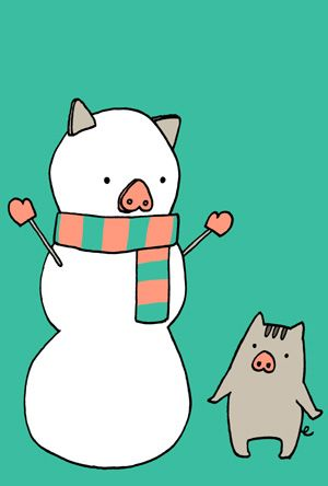 かわいい猪と雪だるまの亥年年賀状イラスト大きい画像
