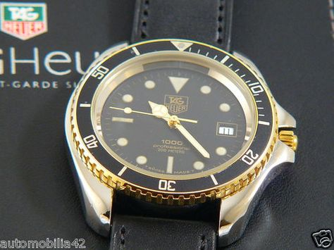 TAG Heuer 1000 Big 45mm Submariner Man 2tone on black Leather Sport band 980.021 #TAGHeuer, #Vintagewatch