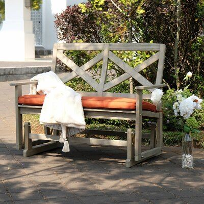 Beachcrest Home Englewood Glider Bench, Outdoor Rocking Bench With Cushions