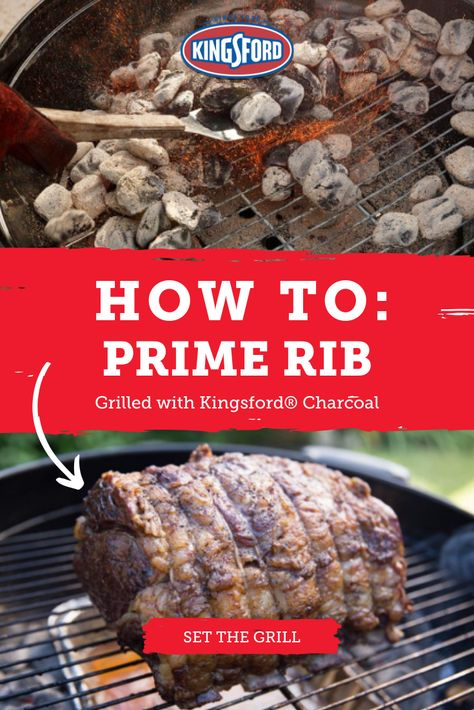 """Few foods inspire the """"wow"""" factor like a standing rib roast, aka prime rib. Add to that the deep smoky flavor that is only achievable on the grill and suddenly you've got a sure-fire hit. Tap the pin to learn more. Grilled Prime Rib, Smoked Prime Rib, Prime Rib Roast, Grilled Meat, Rib Recipes, Roast Recipes, Grilling Recipes, Cooking Recipes, Smoker Recipes"""
