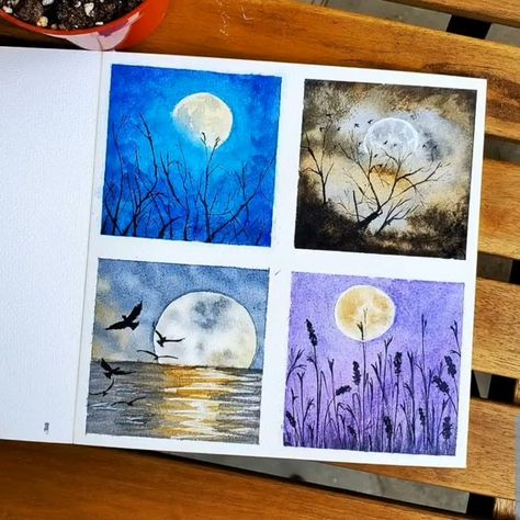Showcase the different colors of the night by #painting ethereal moons with Arteza #Watercolor Paint.  Art By: @art_by_choice_