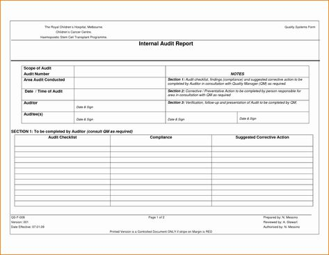 Internal Audit Forms Template In 2020 Internal Audit Audit